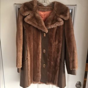 Vintage French mink and leather looking coat S/L